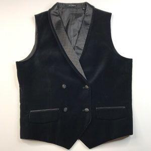 Express Double Breasted Black Velvet Cotton Vest